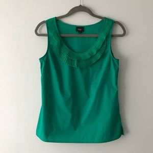 Sea Green Sleeveless Top with Ruffled Scoop Neck